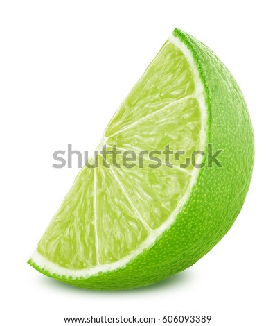 Slice of lime isolated on white background #606093389