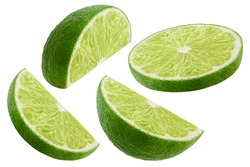 Slice of lime isolated on white background. Collection