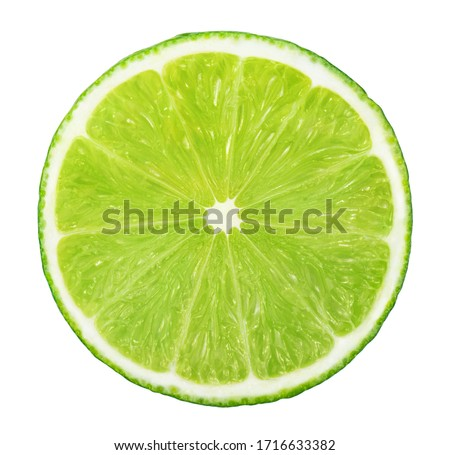 Slice of lime without shadow isolated on white background