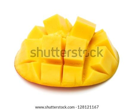 Slice of mango on a white background.