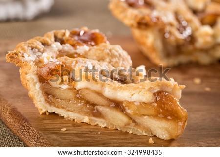 Slice of mouth watering rustic apple pie