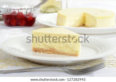 Slice of new york style cheesecake
