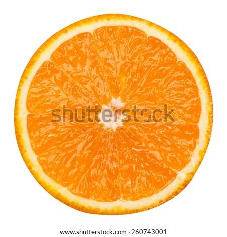 slice of orange fruit isolated clipping path