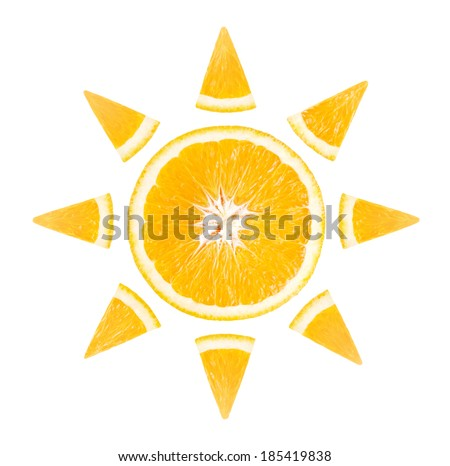 Slice of orange in the form of sun on white background