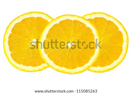 Slice of orange isolated on white background