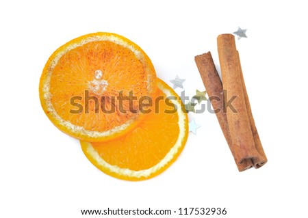 slice of orange with cinnamon for a christmas  dessert