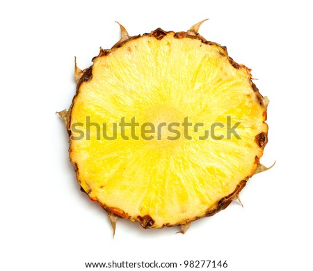 slice of pineapple isolated on white background