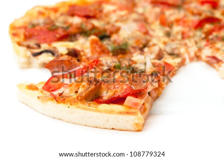 Slice of Pizza, closeup on white background.