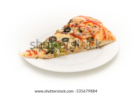 slice of pizza on a white plate. isolated.