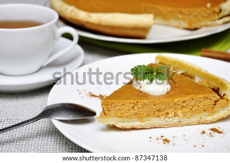 Slice of pumpkin pie with whipped cream and mint served on white plate - stock photo