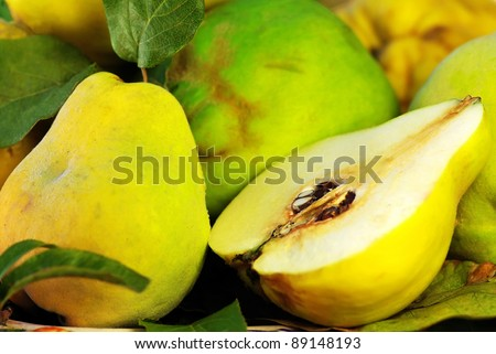 slice of quince fruits on basket
