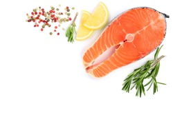 Slice of red fish salmon with lemon, rosemary isolated on white background with copy space for your text. Top view
