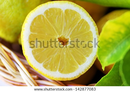 Slice of ripe lemon