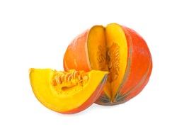 Slice of ripe orange pumpkin on a white background