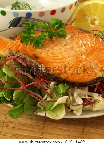 Slice of salmon with salad