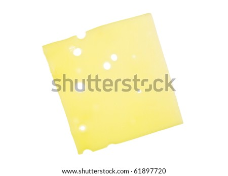 Slice of Swiss cheese close up; isolated on white background