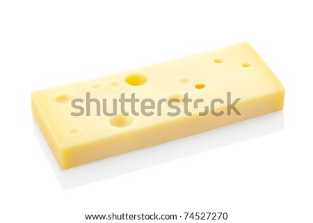 Slice of swiss cheese emmental isolated on white background, clipping path included
