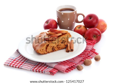 slice of tasty homemade pie with apples and cup of coffee, isplated on white - stock photo