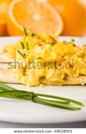 slice of toast with eggs