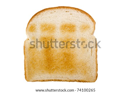 Slice of toasted white bread isolated on a white background.