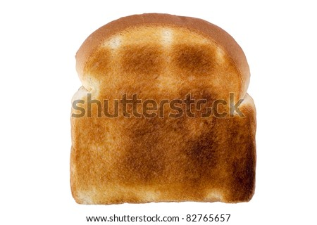 Slice of toasted white bread isolated on a white background. - stock photo