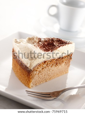 slice of volcano coffee cake, shallow depth of field