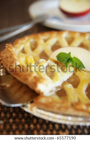 Slice of warm apple pie ready to serve