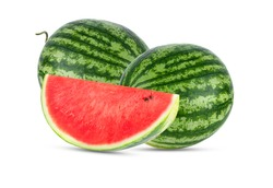 Slice of watermelon isolated on white background.