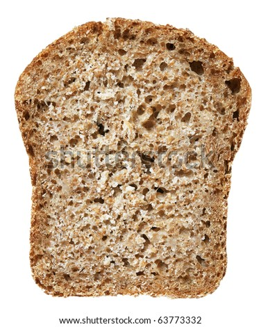 Slice of wheat bread isolated over white
