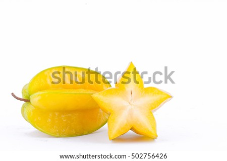 slice ripe star fruit carambola or star apple ( starfruit ) on white background healthy fruit food isolated  Сток-фото ©