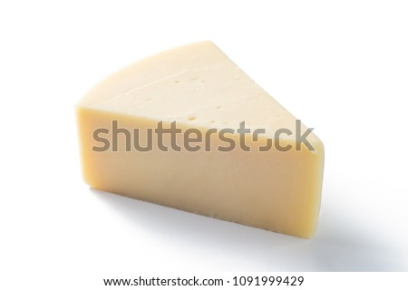 Slice segment of a cheese wheel isolated over the white background