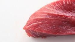 Slice tuna. Piece Fish tuna isolated on white background. slice Meat tuna Fresh