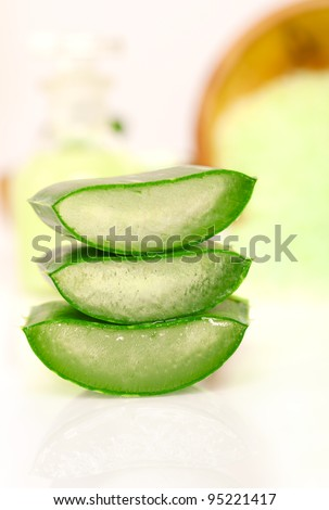 Sliced aloe leaves