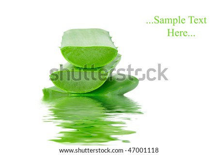 Sliced aloe leaves in water isolated on white background