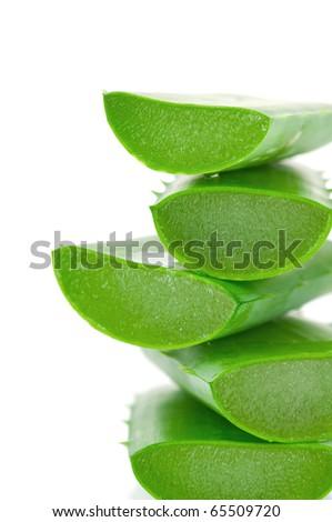 Sliced aloe leaves isolated on white background - stock photo