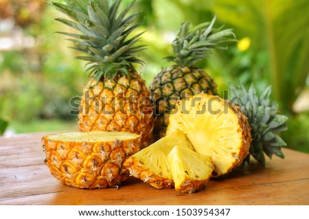 Sliced and half of Pineapple(Ananas comosus) on wooden table with blurred garden background.Sweet,sour and juicy taste.Have a lot of fiber,vitamins C and minerals.Fruits or healthcare concept.