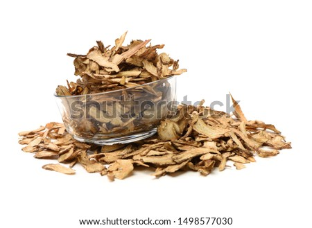 Sliced Angelica Sinensis or Dang Gui on white background #1498577030