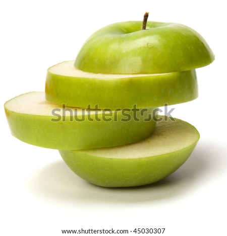 sliced apple isolated on white background