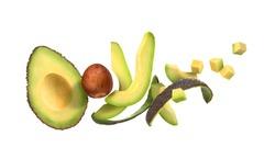 sliced avocado on a white background with avocado peel