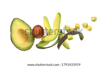 sliced avocado on a white background with avocado peel Foto stock ©