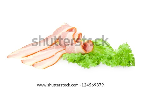 sliced bacon with salad on white background