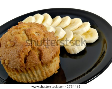 Sliced bananas and banana nut muffin