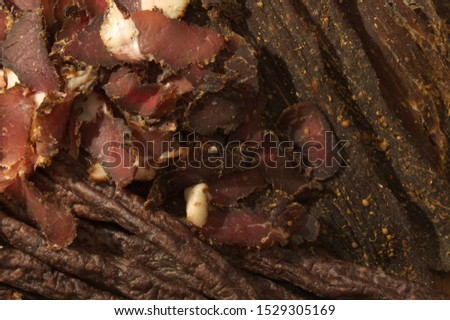 Sliced Biltong, Droewors and Chilli Sticks Stock photo ©