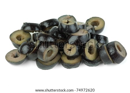Sliced black olives  isolated on the white background