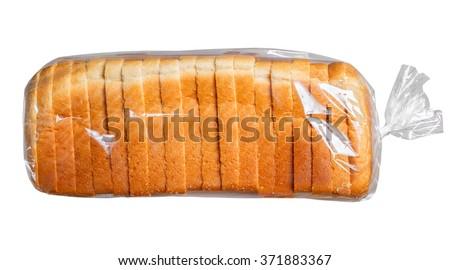Sliced bread in plastic bag. #371883367