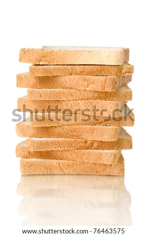 sliced bread in stack with reflection