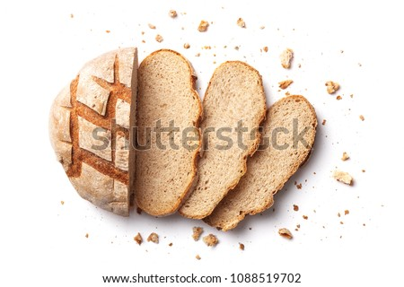 Sliced bread isolated on a white background. Bread slices and crumbs viewed from above. Top view - Shutterstock ID 1088519702
