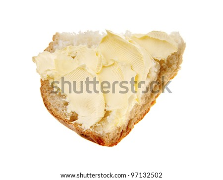 Sliced bread  with  butter, isolated on white