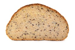 Sliced bread with flax seeds, isolated.