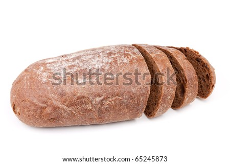 Sliced brown bread. Isolated on white background